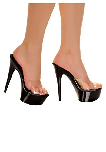 Platform 851 Highest The Women's Black Toe Peep Heel Amber Solid Mule With avwq4Uf