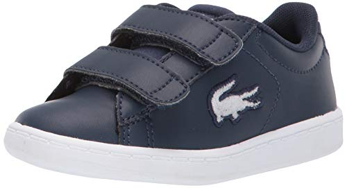 Lacoste Baby Carnaby EVO Sneaker, Navy/White, 8. Medium US Toddler (Lacoste For Kids Boys Shoes)