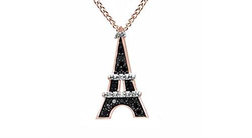 Jewel Zone US Black White Natural Diamond Eiffel Tower Pendant 10k Rose - Diamond Gold Tower Eiffel