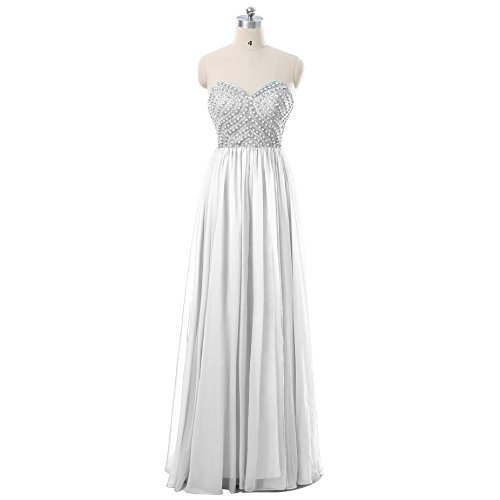 AngelaLove Strapless Long Beadings Evening Party Gowns Wedding Dress A Line Sweep Train Bridesmaid Formal Prom Dress White