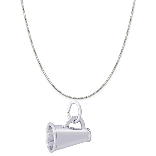 Rembrandt Charms Sterling Silver Megaphone Accent Charm on a Sterling Silver Box Chain Necklace, 16