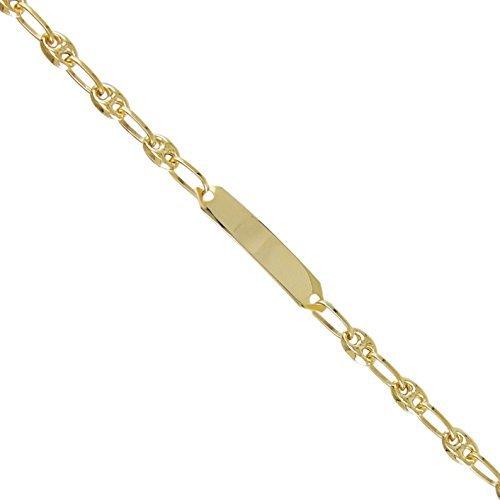 Bracelet Enfant - Gourmette Identité - Maille Grain de Café Or Jaune + Gravure Offerte B15