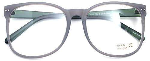 Oversized Big Round Horn Rimmed Eye Glasses Clear Lens Oval Frame Non Prescription (Matt Gray 21084) - Big Frame