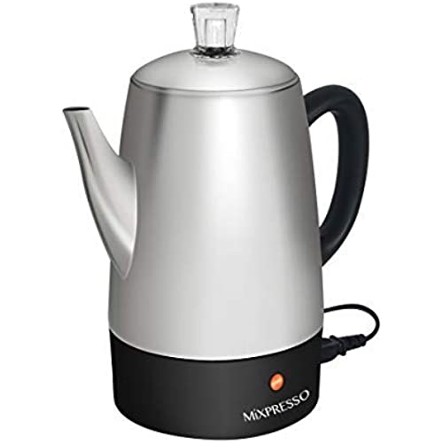 Mixpresso Electric Coffee Percolator | Stainless Steel Coffee Maker | Percolator Electric Pot - 10 Cups Stainless Steel…