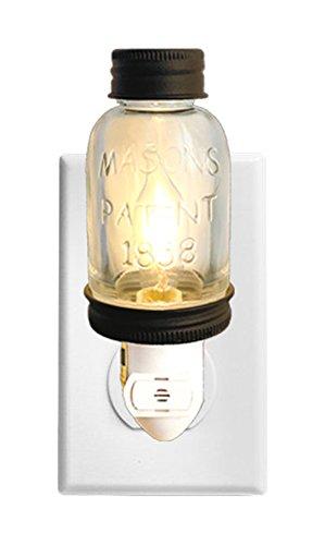 Autumn Alley Rustic LED Mini Mason Jar Night Light Auto On/Off sensor (Rustic Night Light)
