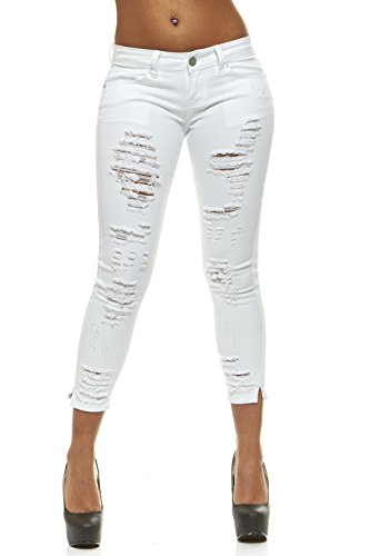 CG JEANS Plus Size Cute Juniors Big Mid Rise Large Ripped Torn Crop Skinny Fit, Clawed White, 22