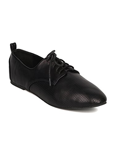 Round Lace Perforated Dj79 Black Toe Up Flat Leatherette Women Oxford RwPgqUTR