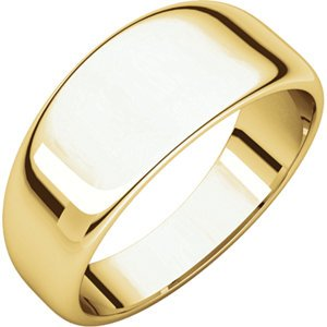 14K Yellow Gold Half Round Tapered Band, Size: -