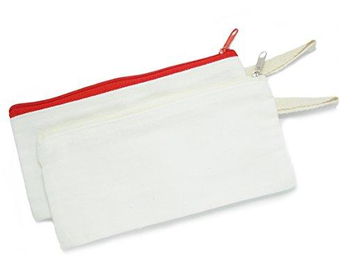 BUMOS Multi-purpose Cotton Zipper Pen Pencil Stationery Cosmetic Makeup Pouch 2 Pcs, Size 3