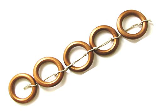 Linpeng Wood Loops/Wooden Rings for Craft work/DIY Jewelry/Ring Pendant/Jewelry making Connectors/Ring size 40mm, Inner Dia 26mm / Golden Brown, Copper Color, Dark Brown, Caramel / 5 -