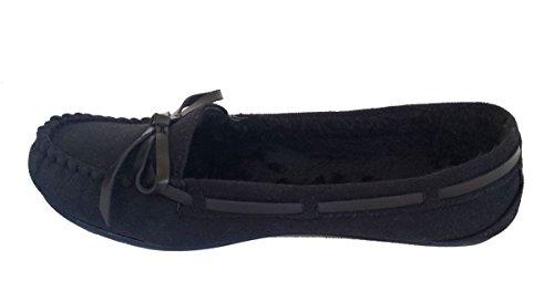 Eleganti Scarpe Da Donna Casual In Camoscio Nero Mocassino Mocassino Nero
