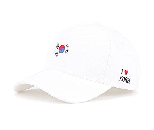 myglory77mall Baseball Trucker Golf Sports Adjustable Hats Korean Flag Ball CAPS White