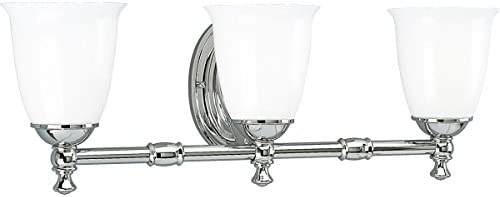 Progress Lighting P3029-15 3-Light Bath Bracket with White Opal Glass, Polished Chrome