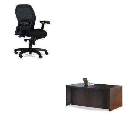 KITMLN3200MLNABD7242LDC - Value Kit - Mayline Aberdeen Series Laminate Bow Front Desk Shell (MLNABD7242LDC) and Mayline Mercado Mid-Back Mesh Chair (Aberdeen Series Bow)