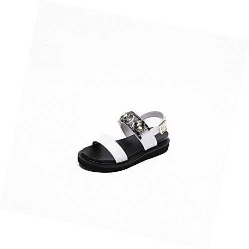 AmoonyFashion Womens Patent Leather Open Toe Kitten-Heels Buckle Solid Sandals White hyyeRM3Vv