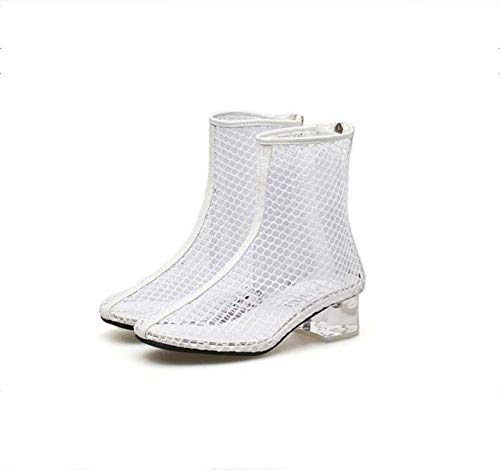 Heel Bootie 5Cm 40 Chunkly Knöchel Mesh Größe Frauen Schuhe Dress 34 Roma Crystal Garn Net EU Boots Mamrar Stiefel Hollow Coole WcAw0zYvqY