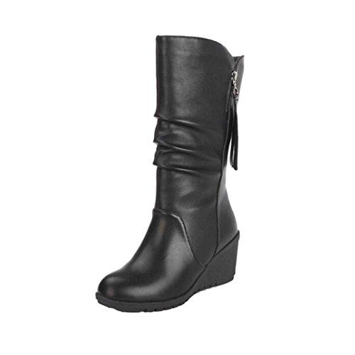 ホット販売、aimtoppyレディース秋冬暖かい靴Ladiesウェッジハイヒールアンクルブーツジッパーブーツ US:7.5 ブラック AIMTOPPY