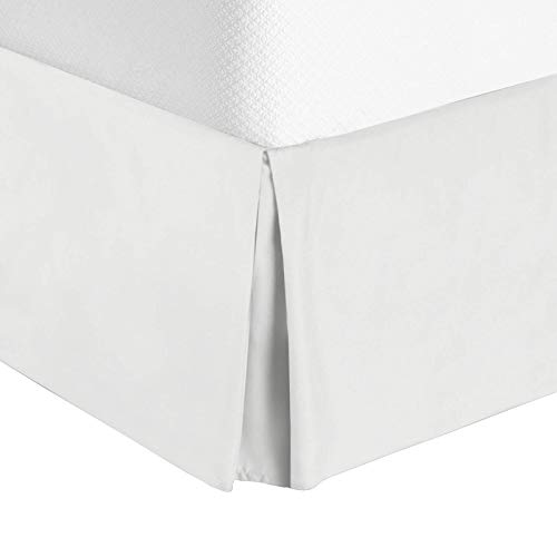 "Nestl Bedding Pleated Bed Skirt - Luxury Microfiber Dust Ruffle, 14"" Tailored Drop, Full, White"