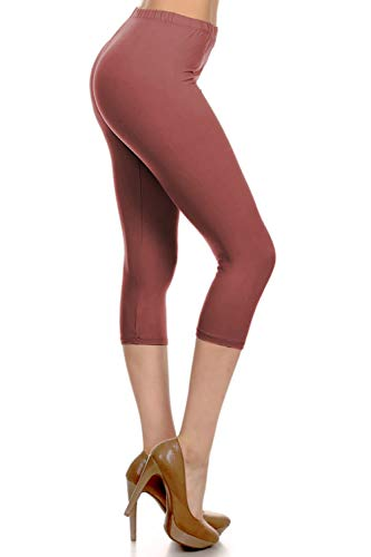 Plush Legging - NCPRX128-MARSALA Capri Solid Leggings, Plus Size