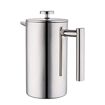 MIRA 34 oz Double Wall All Stainless Steel French Press For Coffee or Tea | Insulated Coffee Pot & Maker Keeps Brewed Coffee or Tea Warm for Hours