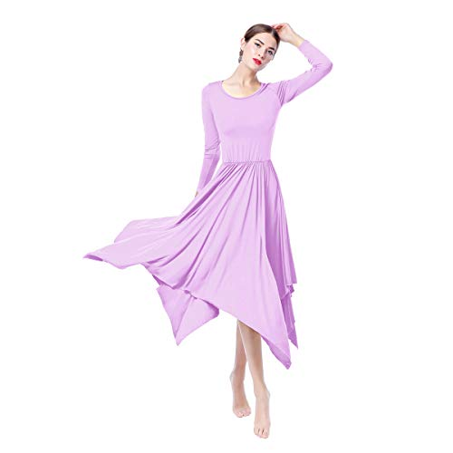 Autumn Gown (Womens Praise Loose Fit Maxi Long Sleeve Dance Dress Plain Color Ballet Latin Modern Dance Wear Csual Party Dress Autumn Dress Clothes Sportwear Dresses Gowns Lilac L)