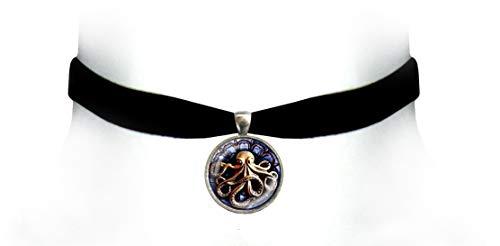 Victorian Vault Kraken Octopus Black Velvet Choker Steampunk Gothic Pendant Necklace (Bronze Indigo)