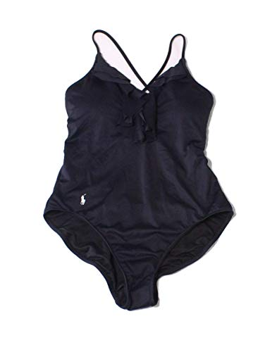 Polo Ralph Lauren Womens Modern Solids Double Ruffle One-Piece Black SM One ()