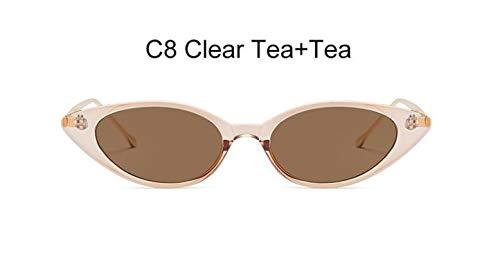 2019 Cat Eye Sunglasses Ladies Summer Vintage Red Pink Cute Glasses retro Cat eye UV400,C8 Clear Tea ()