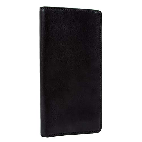 Mens Long Bifold Checkbook Cover Wallet Multi Card Pocket Holder Italian Leather ()