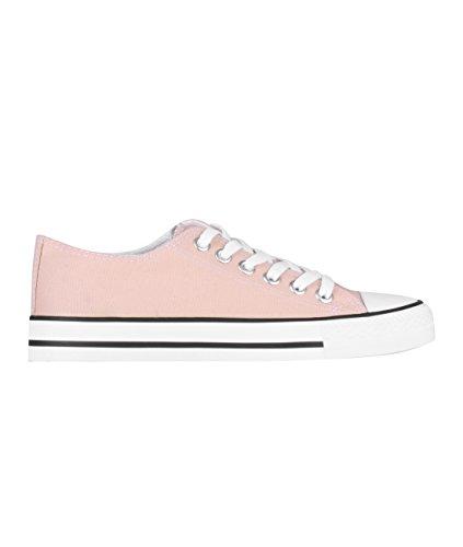 KRISP Damen Stoff Schuhe Sneaker Basketball Schuhe Rosa/Weiß (2345)