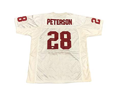 (Adrian Peterson Oklahoma Sooners Away White Autographed Signed Memorabilia Jersey - JSA Authentic)