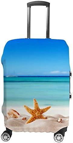 スーツケースカバー トラベルケース 荷物カバー 弾性素材 傷を防ぐ ほこりや汚れを防ぐ 個性 出張 男性と女性夏のコンセプトビーチ、貝殻、ヒトデ