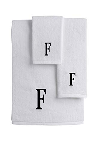 (Mandola Home Decor Personalized Monogrammed 3-Piece Towel Set | 100% Cotton | Bath Towel | Hand Towel | Face Towel | Soft and Absorbent Hotel Spa Quality (F))