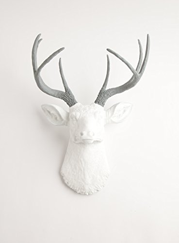 Amazon Com White Faux Deer Head Wall Mount With Grey Antlers The