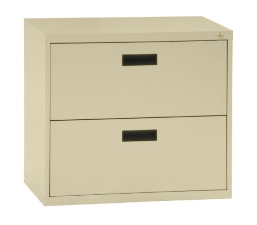 "Sandusky 400 Series Putty Steel Lateral File Cabinet with Plastic Handle, 30"" Width x 27-1/4"" Height x 18"" Depth, 2 Drawers"