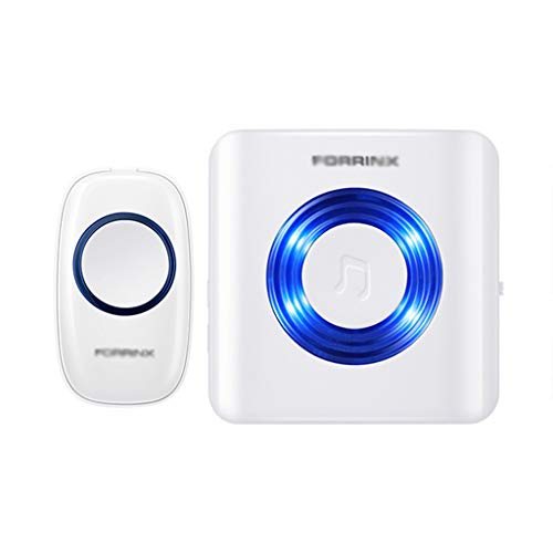 CUIS- Deaf-Mute Hearing Loss Special Wireless Doorbell, Home Remote Control Electronic Old Pager, Wireless Doorbell Kit, Plug-in Receiver, 4 Volume Levels, 52 Chimes, LED Flash & CD Sound- White
