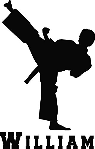 Personalized Martial Arts Kick , Tae Kwon Do with name Customized KIDs room decor wall decal art vinyl wall decal style - Art Name Customized