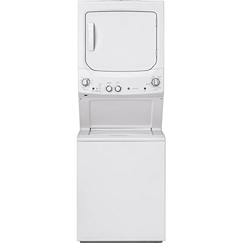 GE GUV27ESSMWW Unitized Spacemaker 3.8 Washer with Stainless Steel Basket and 5.9 Cu. Ft. Capacity Long Vent Electric Dryer, White