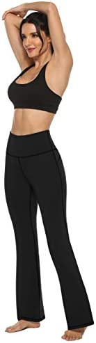 AFITNE Women's Bootcut Yoga Pants with Pockets, High Waist Workout Bootleg Yoga Pants Tummy Control 4 Way Stretch Pants