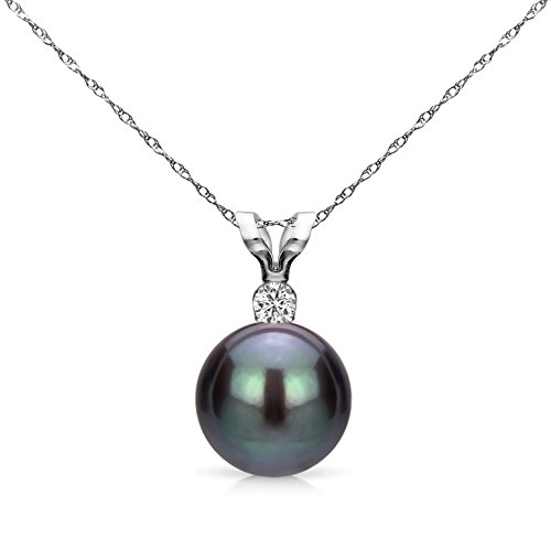 Black Cultured Freshwater Pearl Diamond Pendant Necklace 14K White Gold 1/33 CTTW 7-7.5mm 18 inch