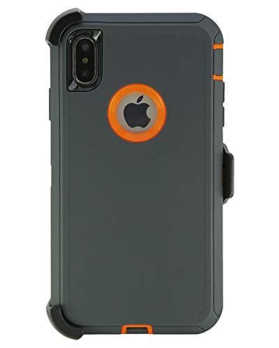 WallSkiN Turtle Series Cases for iPhone Xs Max (Only) Tough Protection with Kickstand & Holster - Charcoal (Dark Grey/Orange) ()