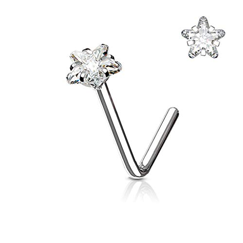 Forbidden Body Jewelry Surgical Steel 3mm CZ Star Top L-Shaped Nose Stud (20g Silver Tone) ()