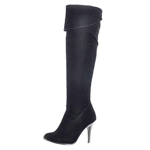 Nonbrand Nero nero sottile ginocchio in tacco al donna materiale da con sintetico gxwrgAq