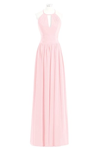 Prom Party Chiffon Pink Bridal Wedding Bridesmaid Halter Dora Dress Blushing Maxi CFqY7XwEx