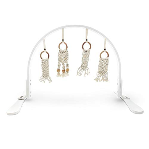 Finn Emma Macrame Play Gym, Organic Cotton and Natural Wood with Hand-Knit Rattle and Teether Stroller Toys for Baby Boy or Girl – White