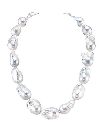 Pearl Baroque Shaped (THE PEARL SOURCE Baroque Shaped 14-17mm White Freshwater Cultured Pearl Necklace for Women in 36