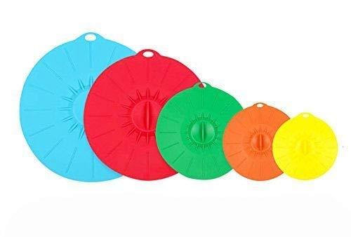 Oucles Bunte Silikon Frische Deckel Deckel Lebensmittel Abdeckung Wiederverwendbare 5 Set Anwendung für Ofen Mikrowelle Gefrierschrank Spülmaschine Safe BPA frei