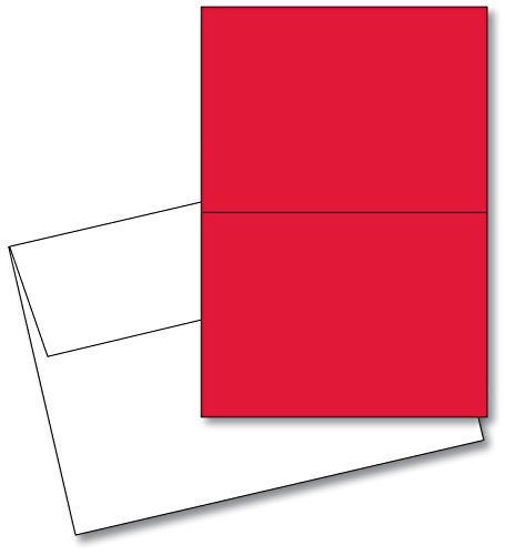 Red Blank 5x7 Greeting Cards with White A7 Envelopes. (25...
