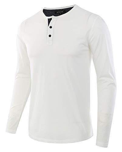 HETHCODE Men's Classic Comfort Soft Regular Fit Long Sleeve Henley T-Shirt Tee White/Navy XXL