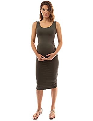 PattyBoutik Mama Scoop Neck Maternity Tank Dress